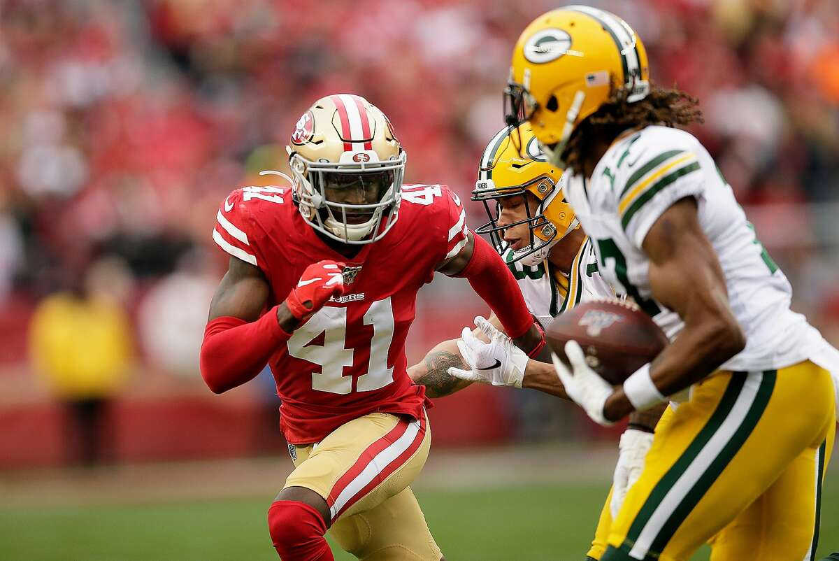 San Francisco 49ers defensive back Emmanuel Moseley (41) tracks Green Bay Packers wide receiver Davante Adams (17) in the NFC Championship Game at Levi's Stadium, Sunday, Jan. 19, 2020, in San Francisco, Calif. The San Francisco 49ers won 37-20 against the Green Bay Packers. The 49ers will play the Kansas City Chiefs in the Super Bowl.