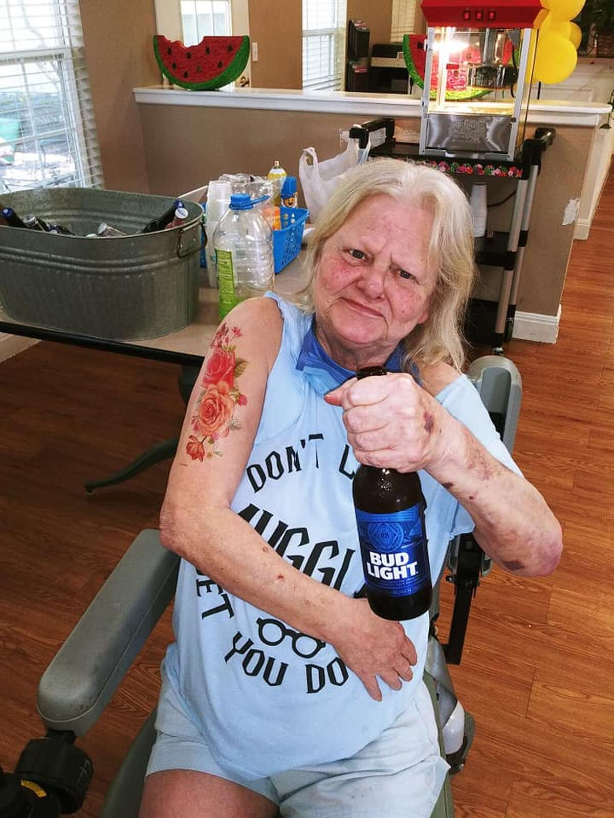 Residents of Wesley House Assisted Living in Hillsboro, TX weren't going to let the pandemic stop them from enjoying a happy hour full of drinks and tattoos!