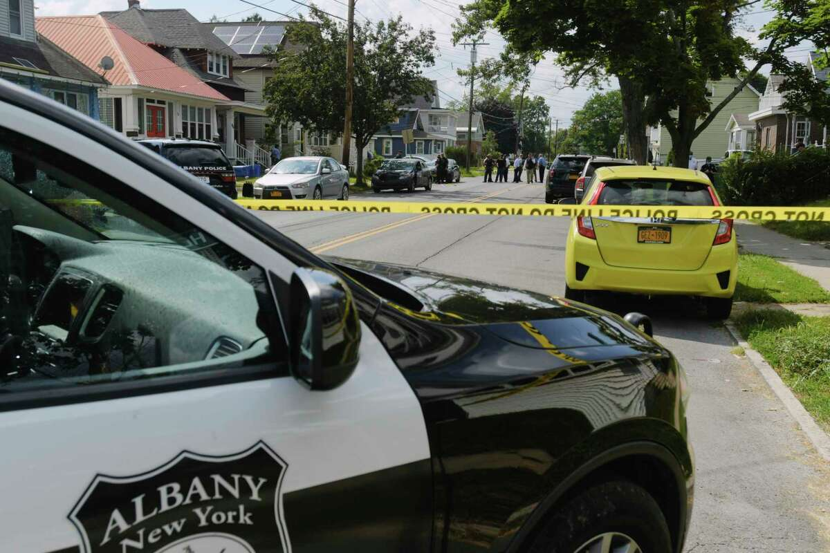 Albany Police work at the scene of a shooting on Southern Blvd. on Monday, Aug. 17, 2020, in Albany, N.Y. A man has been charged with the shooting of another man on Aug. 19, 2020. (Paul Buckowski/Times Union)