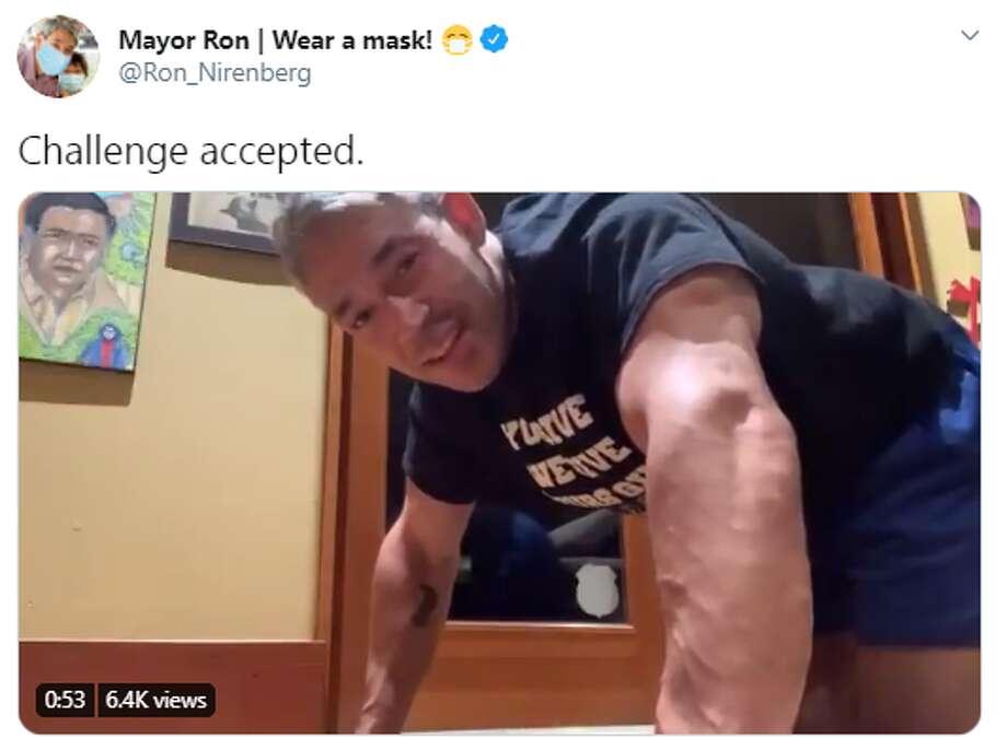San Antonio Mayor Ron Nirenberg is taking on navigating the city through the coronavirus pandemic and a push-up challenge. Photo: Twitter Screengrab
