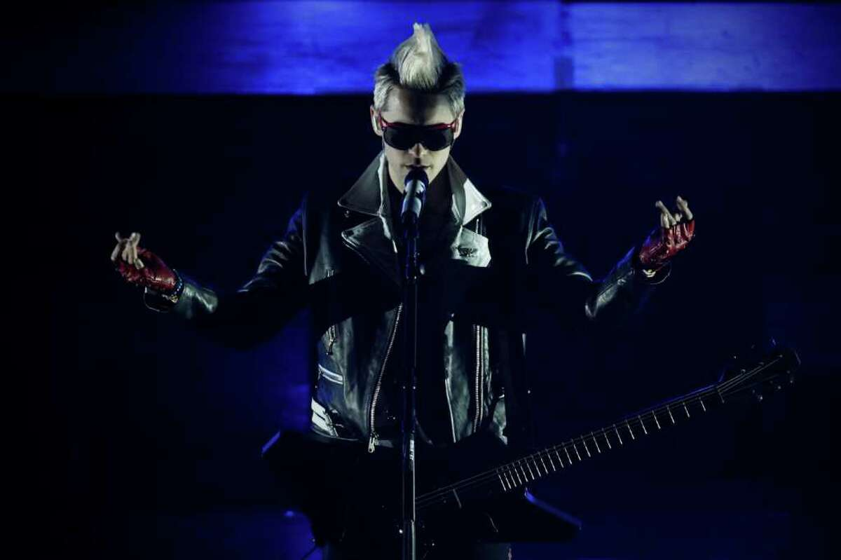 Jared Leto, of the band 30 Seconds to Mars, performs at the MTV World Stage concert in Mexico City, Thursday Aug. 26, 2010. (AP Photo/Miguel Tovar)