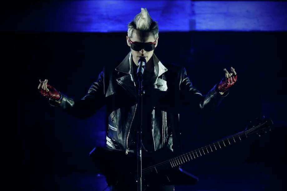 Jared Leto, of the band 30 Seconds to Mars, performs at the MTV World Stage concert in Mexico City, Thursday Aug. 26, 2010. (AP Photo/Miguel Tovar) Photo: Miguel Tovar / AP