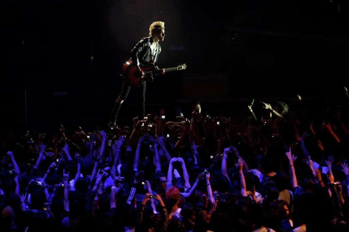Jared Leto, of 30 Seconds to Mars, performs at the MTV World Stage concert in Mexico City, Thursday Aug. 26, 2010. (AP Photo/Miguel Tovar)