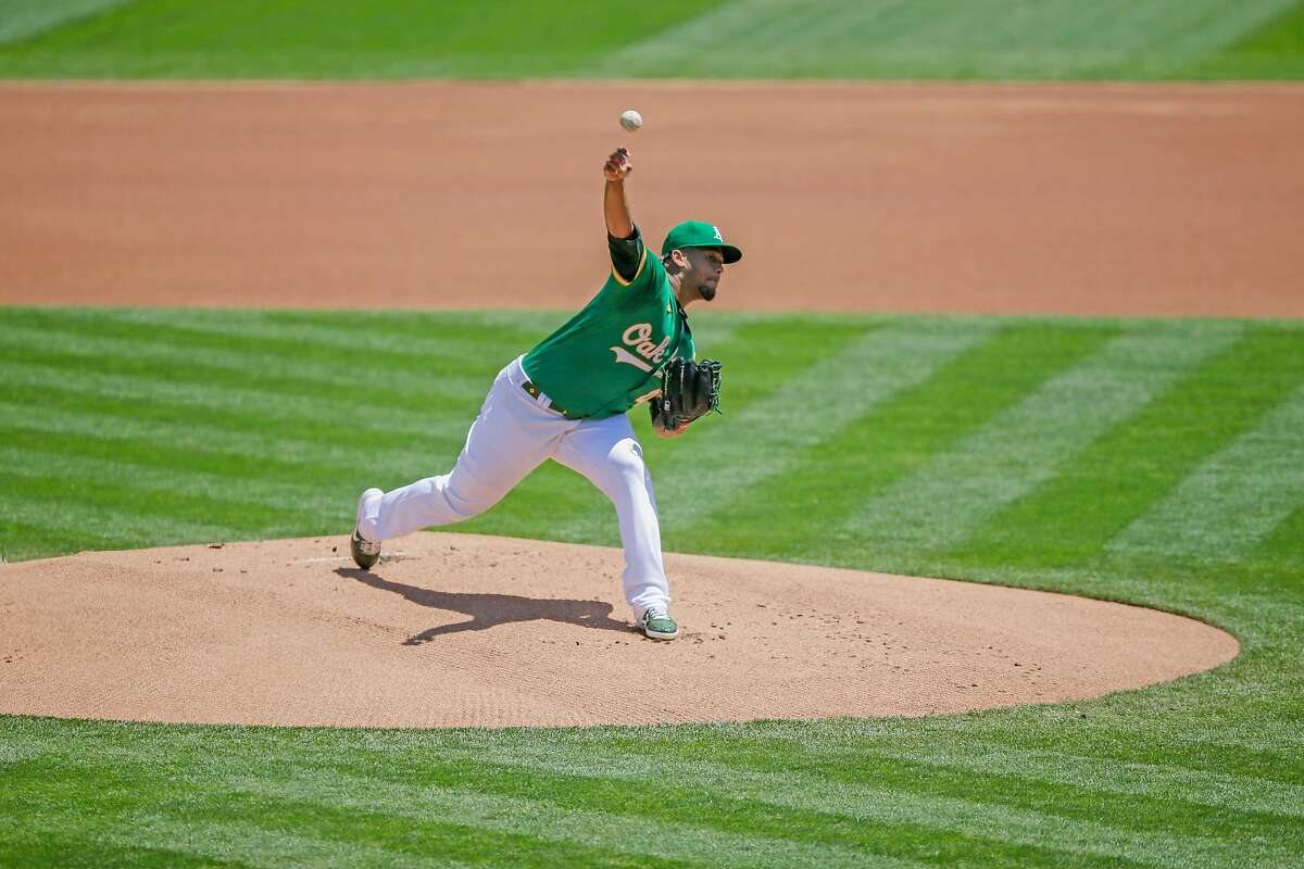 Oakland Athletics starting pitcher Frankie Montas (47) in an MLB game against the Houston Astros at RingCentral Coliseum on Saturday, Aug. 8, 2020, in Oakland, Calif.