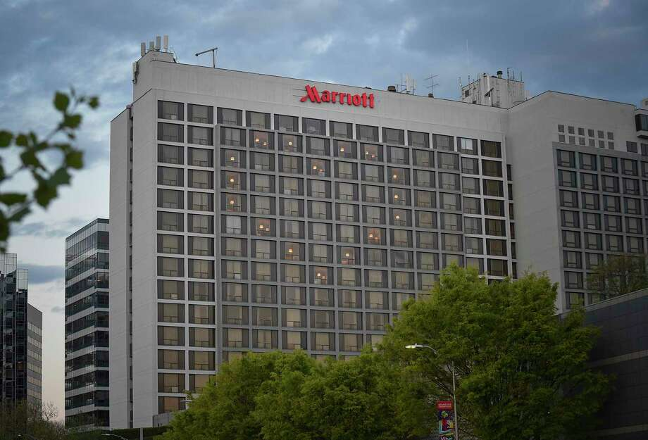 The Marriott hotel at 243 Tresser Blvd., in downtown Stamford, has reported approximately 100 temporary layoffs to the state Department of Labor. Photo: Matthew Brown / Hearst Connecticut Media / Stamford Advocate