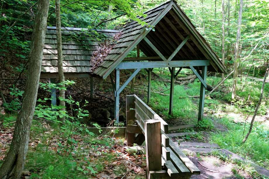 Historic Glen Park in Onekama is known for its mineral springs and well houses. Local officials are looking to continue on a multi-year restoration plan aimed at revitalizing the park with new universal accessible amenities. (Courtesy Photo/Richard Lapinski)