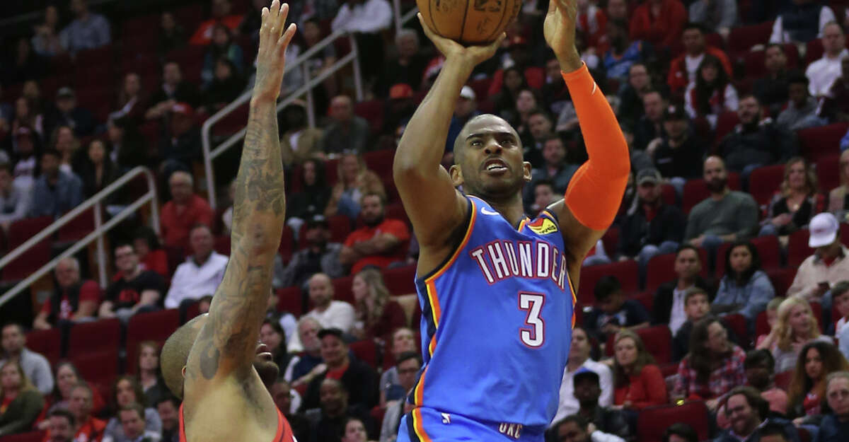 Chris Paul #3 of the Oklahoma City Thunder shoots a fade over P.J. Tucker #17 of the Houston Rockets during the fourth quarter at Toyota Center on January 20, 2020 in Houston, Texas.(Photo by Bob Levey/Getty Images)