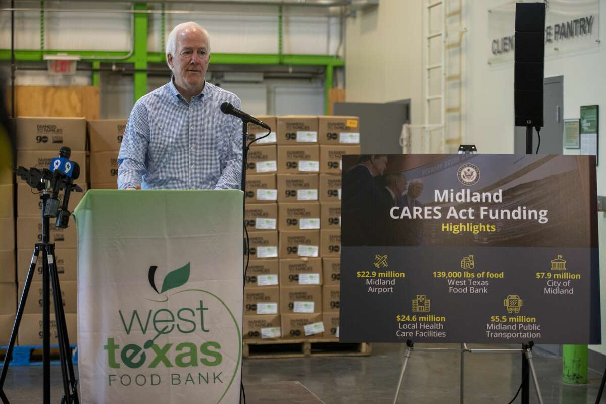 U.S. Sen. John Cornyn talks about how the CARES Act has helped Midland on Monday, Aug. 17,2020 at the West Texas Food Bank.