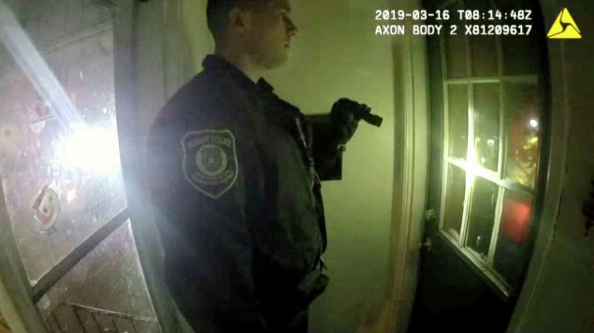 Police body camera footage shows Officer Matthew Seeber asking to enter the home at 523 First Street before kicking in the door on March 16, 2019, in Albany, N.Y. The First Street incident, which involved allegations of police brutality, is one example of why communities around the state are now tasked with convening community police reform boards. (Albany Police Department)