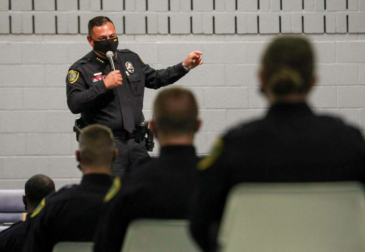 Police Chief Art Acevedo speaks to a class of 245 cadets during the Aug. 17 graduation ceremony at the Houston Police Academy.