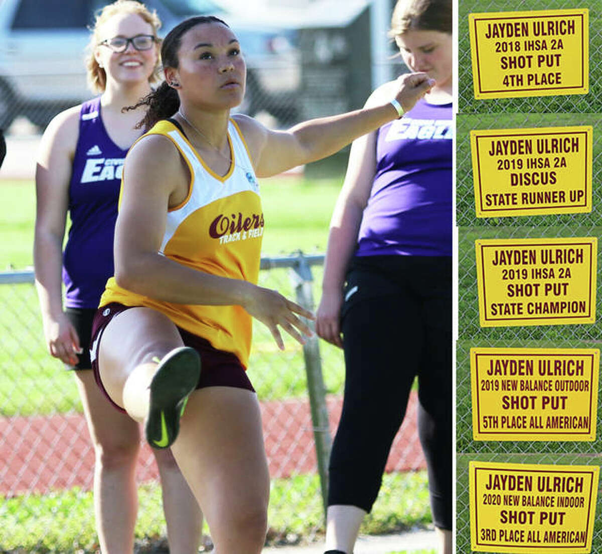 EA-WR's Jayden Ulrich watches her throw at the Madison County Meet during a sophomore season that ended with a Class 1A state championship in the shot put in 2019. After her junior season was canceled because of COVID-19, Ulrich is hoping to add to the five signs hanging at Memorial Stadium that already tout her achievements.