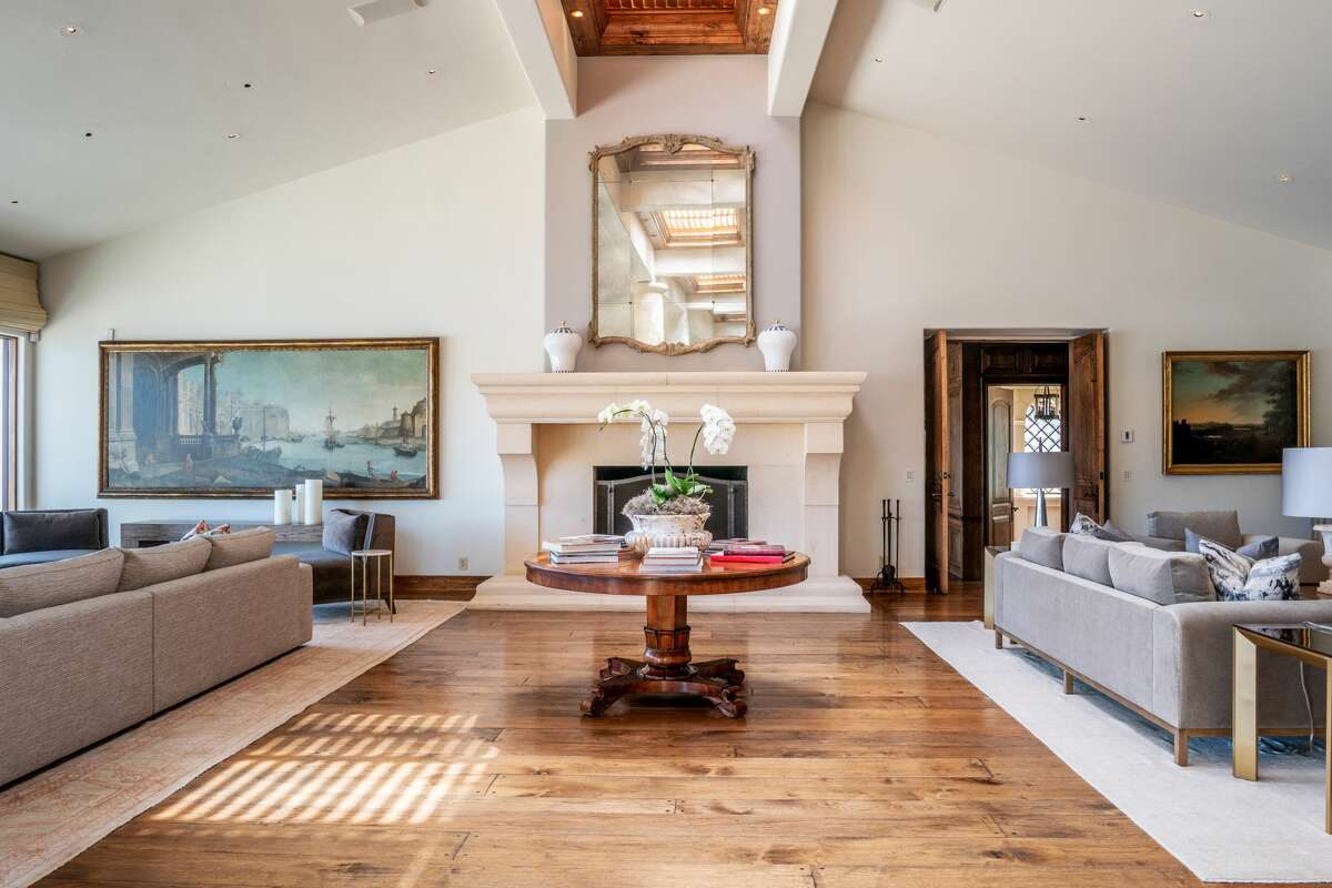 A huge hearth anchors the great room.