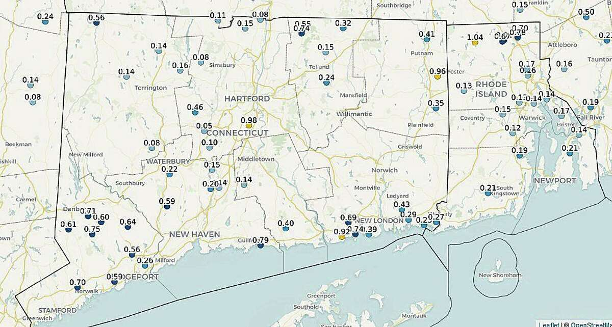 For most of Connecticut, rainfall totals Tuesday morning on Aug. 18, 2020 exceeded the rainfall amounts from Tropical Storm Isaias on Aug. 4. With 1.38 inches from Isaias, Goshen had the most rain; East Lyme had the least with 0.04 of an inch. Map shows statewide rainfall totals from Tuesday.