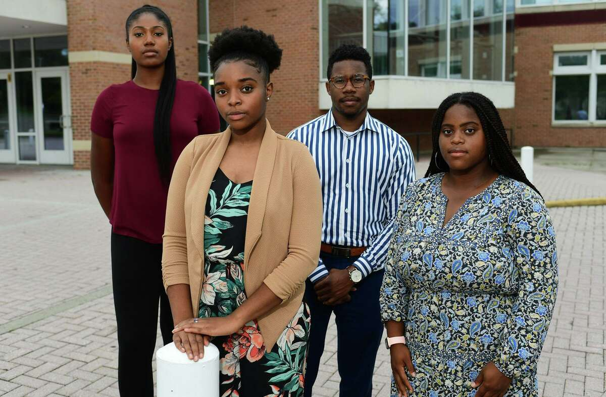 Graduates of the Norwalk Public School, Sarah St. Surin, Shelcie Charlot, Kendrick Constant and Khanisha Moore , Thursday, August 13. 2020, in Norwalk. The group advises how schools can respond to Black Lives Matter.