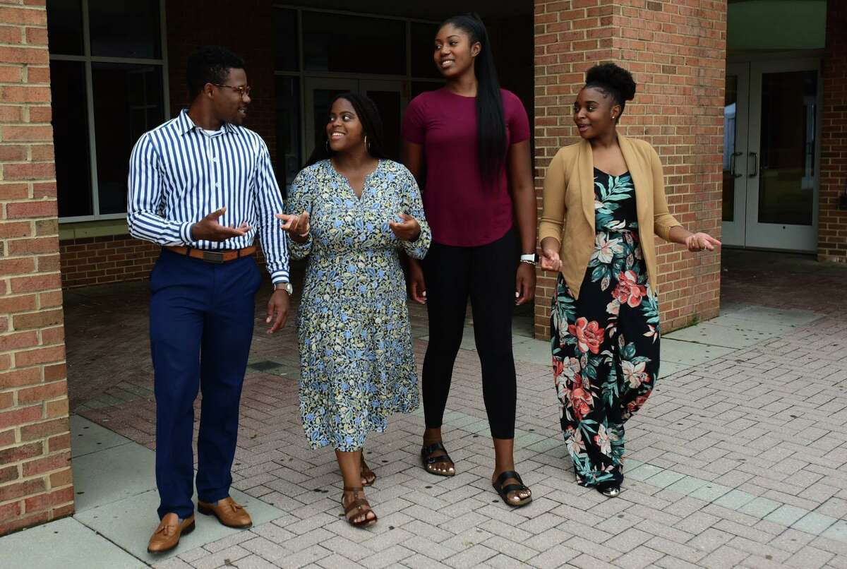 Graduates of the Norwalk Public School, Kendrick Constant, Khanisha Moore, Sarah St. Surin and Shelcie Charlot Thursday, August 13. 2020, in Norwalk. The group advises how schools can respond to Black Lives Matter.
