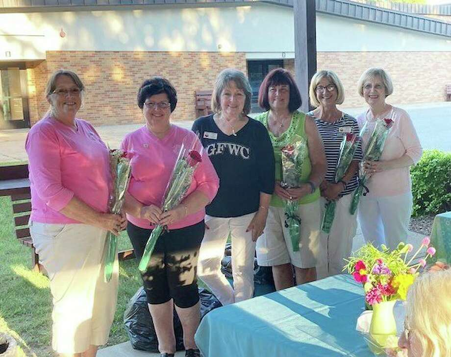 Pictured from the left is Ann Stellard, president; Linda Telfer, 1st vice president; Sue Johnson, GFWCMI Past President; Pat Rossi, 2nd vice president; Celeste Szczerowski, secretary; and Dee Van Horn, treasurer. (Submitted photo)
