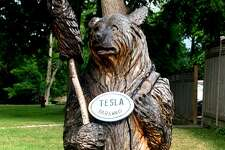 A wooden bear disguises a charging station for electric vehicles in the parking lot of the Blantyre resort in Lenox, Mass.
