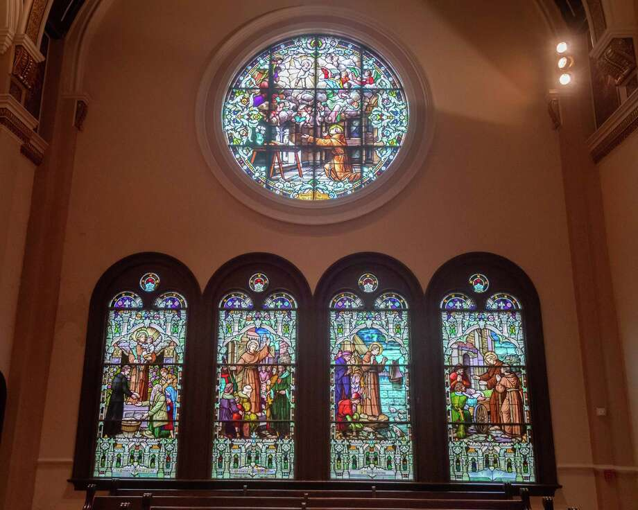 The stained glass windows on the west side of the front of the Cathedral were made in France and tell the story of St. Anthony of Padua, the patron saint of the church. A similar set of stained glass windows on the east side depict the life of the Virgin Mary. Photo made on August 6, 2020.  Fran Ruchalski/The Enterprise Photo: Fran Ruchalski, The Enterprise / The Enterprise / © 2020 The Beaumont Enterprise