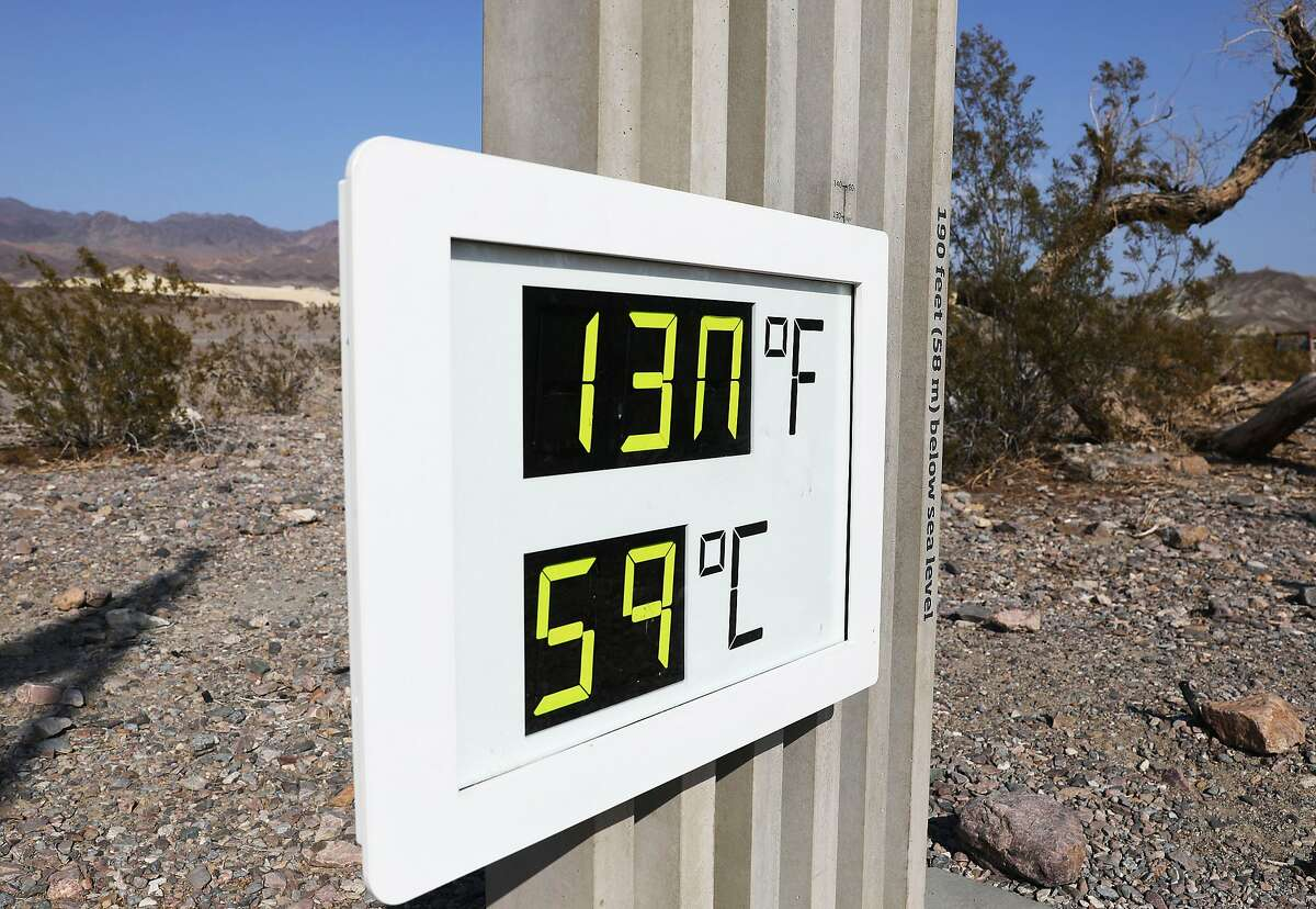 A thermometer at the Furnace Creek Visitors Center in Death Valley National Park in August 2020 -130 degrees is a modern record high temperature in a record-hot year.