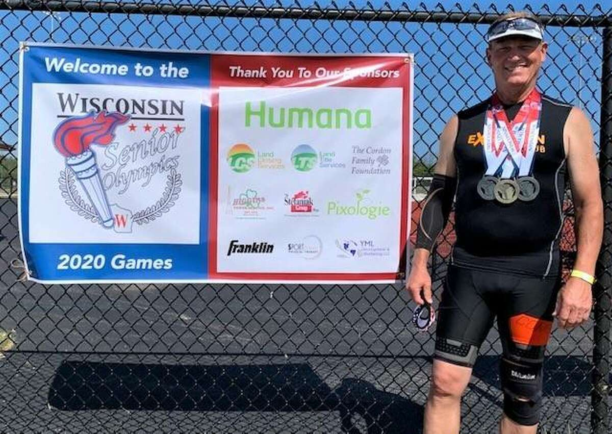 Mike Young of Wood River competed in the Wisconsin Senior Olympics at Homestead High School in Mequoin, Wisconsin. Young, 58, set a personal best in the shot put in a first-place finish. he also brought home a pair of second-place medals, three fourth-places and a fifth.