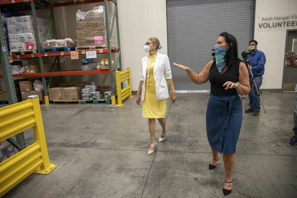 Feeding America CEO Claire Babineaux-Fontenot visited with executive director Libby Campbell on Tuesday, Aug. 18,2020 at the West Texas Food Bank in Odessa.