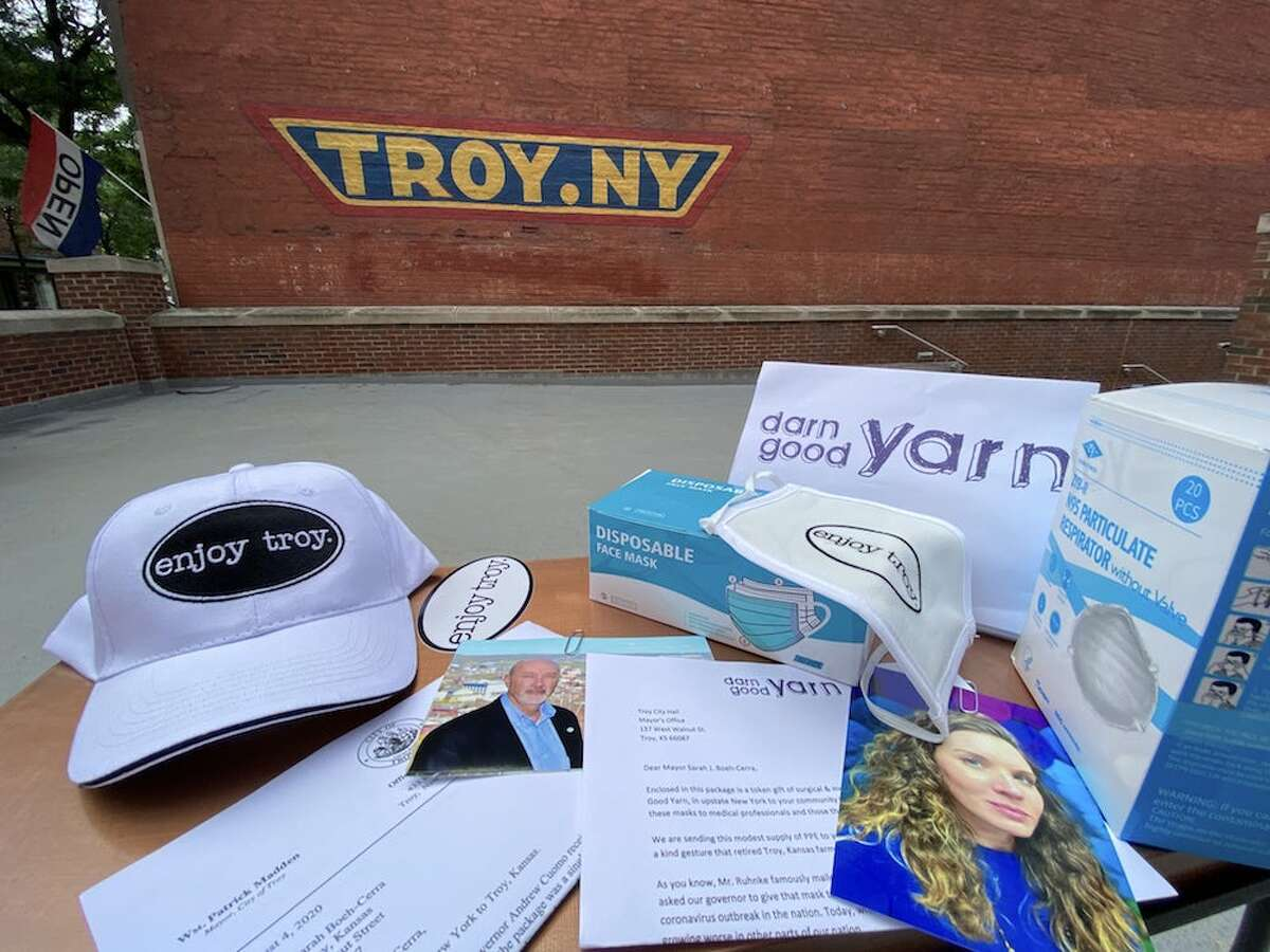 A sample of thank letters and items of appreciation from Troy, N.Y. sent to the mayor of Troy, Kan., inspired by retired Troy, Kan. Farmer Dennis Ruhnke's gesture of sending an extra N95 mask to Gov. Andrew Cuomo in April. Ruhnke sent A similar package was sent to Ruhnke.