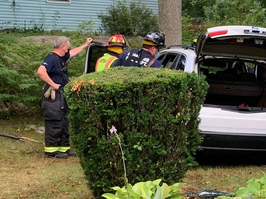 Crews on scene at a crash on Briarwood Lane in Branford, Conn., on Monday, Aug. 18, 2020. Photo: Contributed Photo / Branford Fire Department