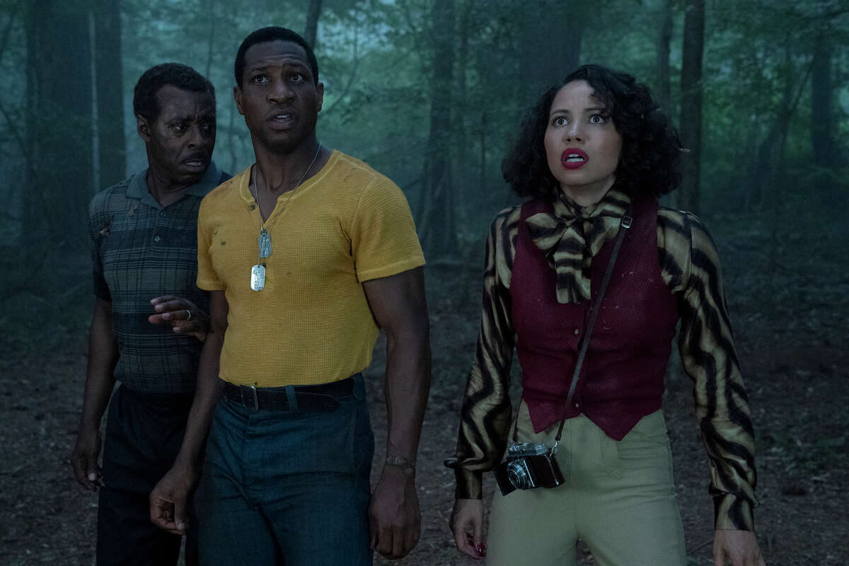 (L-R): George (Courtney B. Vance), Leti (Jurnee Smollett-Bell) and Tic (Jonathan Majors) in a still from HBO's