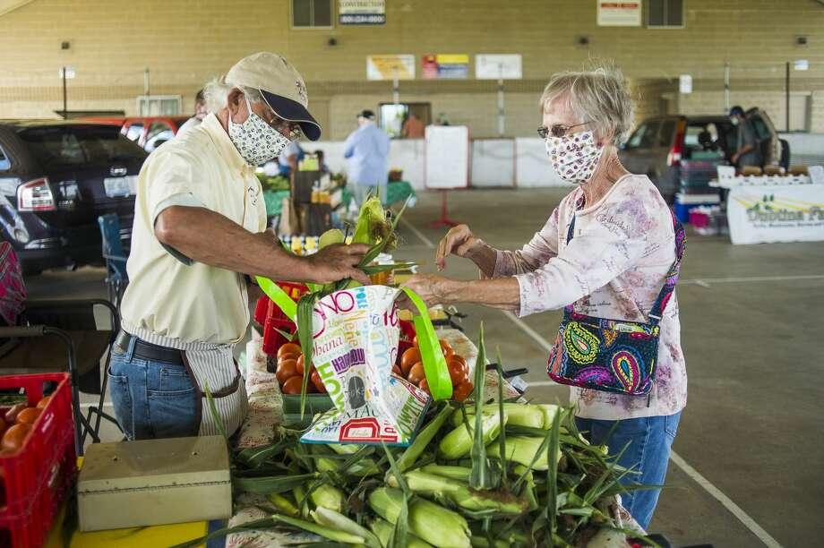 Norman Adams of Freeland, left, places four ears of sweet corn into a bag for Monica Girou of Bay County, right, Tuesday, Aug. 18, 2020 at the Auburn Farmers Market. (Katy Kildee/kkildee@mdn.net) Photo: (Katy Kildee/kkildee@mdn.net)