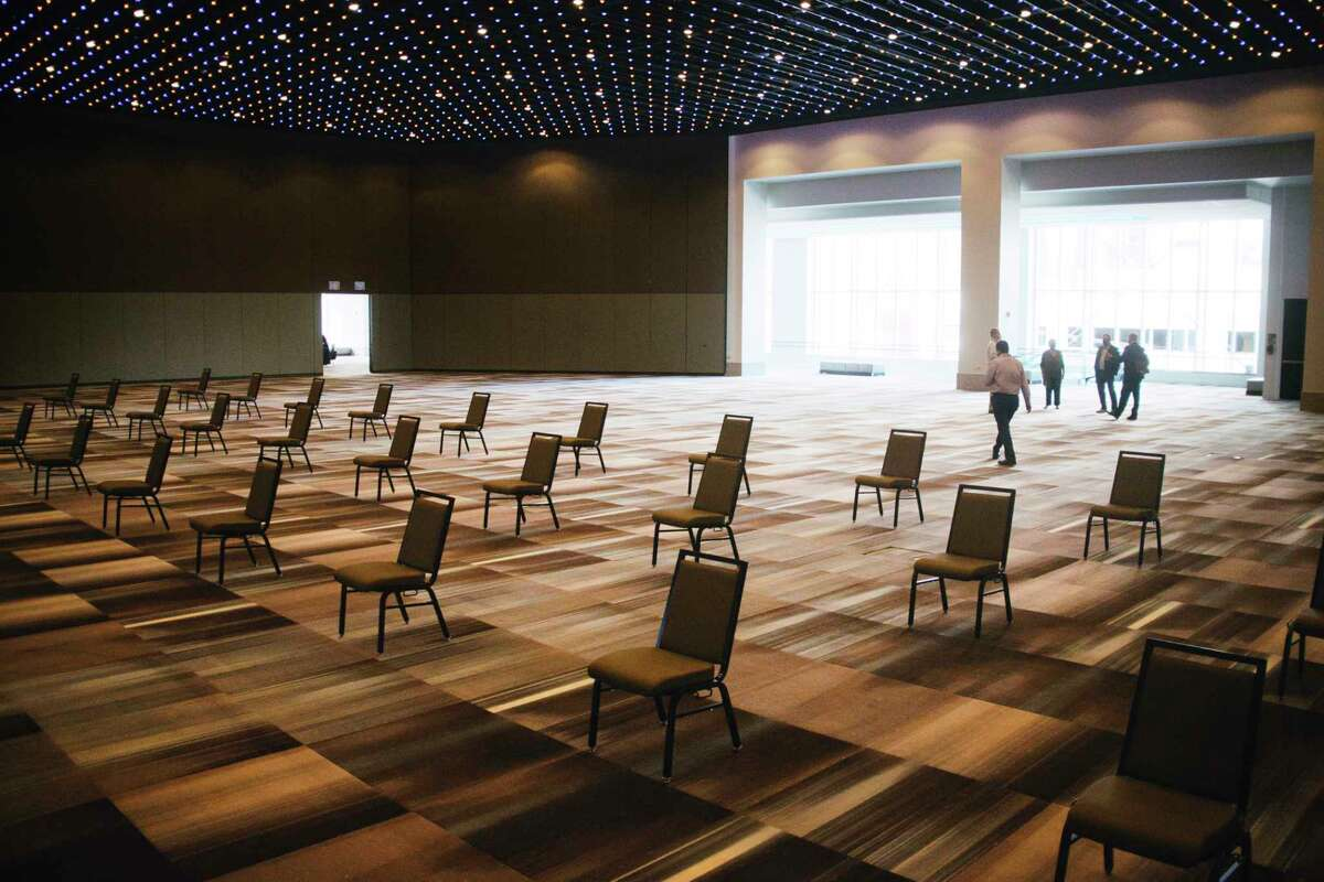 A view of the Albany Capital Center with chairs spaced apart for social distancing on Tuesday, Aug. 18, 2020, in Albany, N.Y. (Paul Buckowski/Times Union)