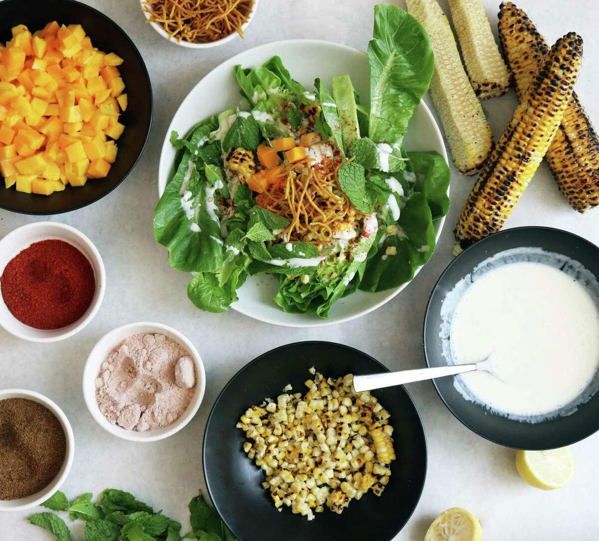 Corn Mint Chaat benefits from the unusual flavor of black salt.