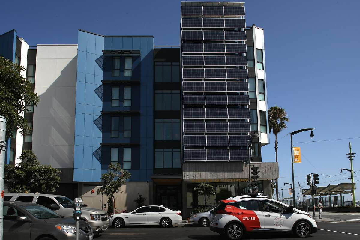 Part of the solar panel on the right seen at the Edwin Lee Apartments in Mission Bay on Thursday, Aug. 6, 2020, in San Francisco, Calif.