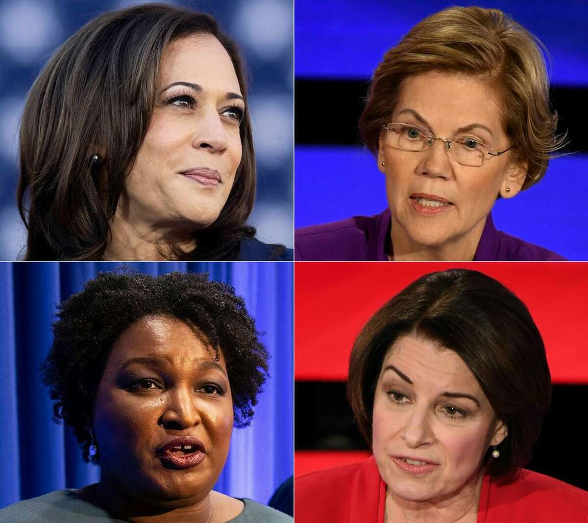 his combination of pictures created on April 09, 2020 shows (L-R, top to bottom) US Senator Kamala Harris on January 27, 2019 in Oakland, California; US Senator Elizabeth Warren on January 14, 2020, in Des Moines, Iowa; former Georgia Democratic gubernatorial candidate Stacey Abrams on November 20, 2019, in Atlanta, Georgia and US Senator Amy Klobuchar on January 14, 2020, in Des Moines, Iowa.