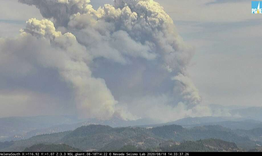Multiple wildfires were burning in Napa and Sonoma counties on Aug. 18, 2020. Photo: PG&E/Screenshot