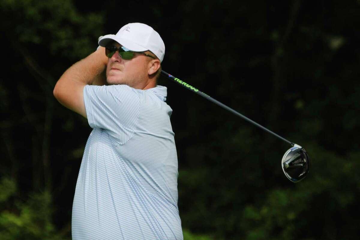 Kyle Kressler follows his tee shot during the final round of the Northeastern New York PGA Stroke Play Championship on Tuesday, Aug. 18, 2020, in Niskayuna, N.Y. (Paul Buckowski/Times Union)