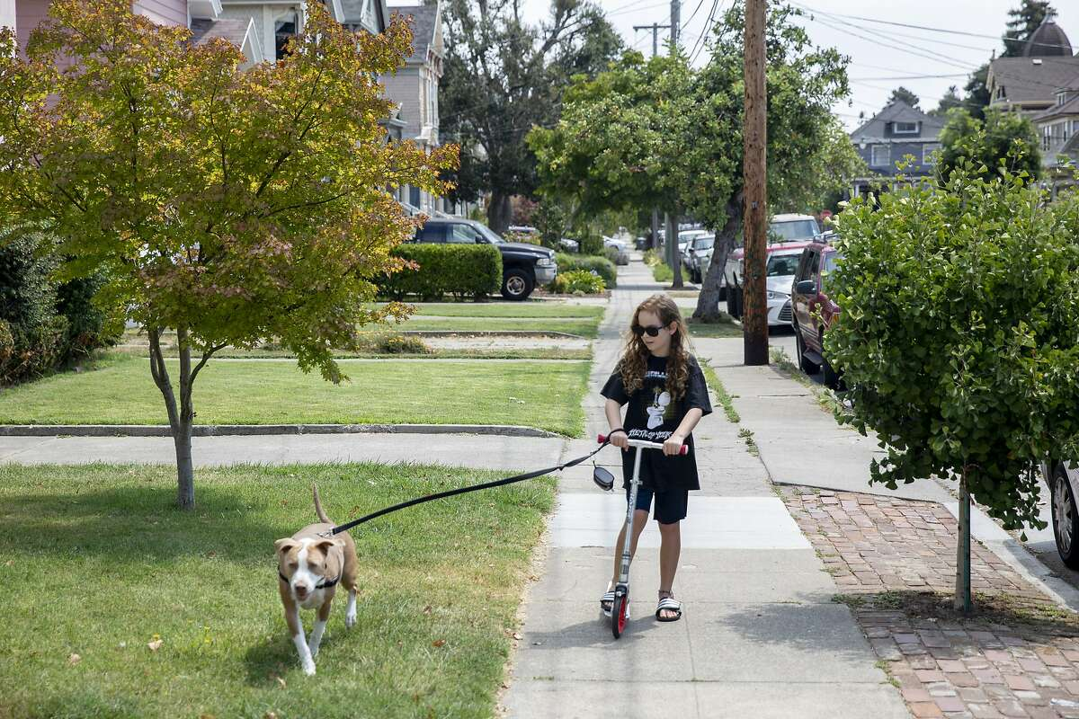 Zeke Simmons, 10, lets his dog, Bubbles, pull him along as he rides his scooter outside of his home in Alameda.