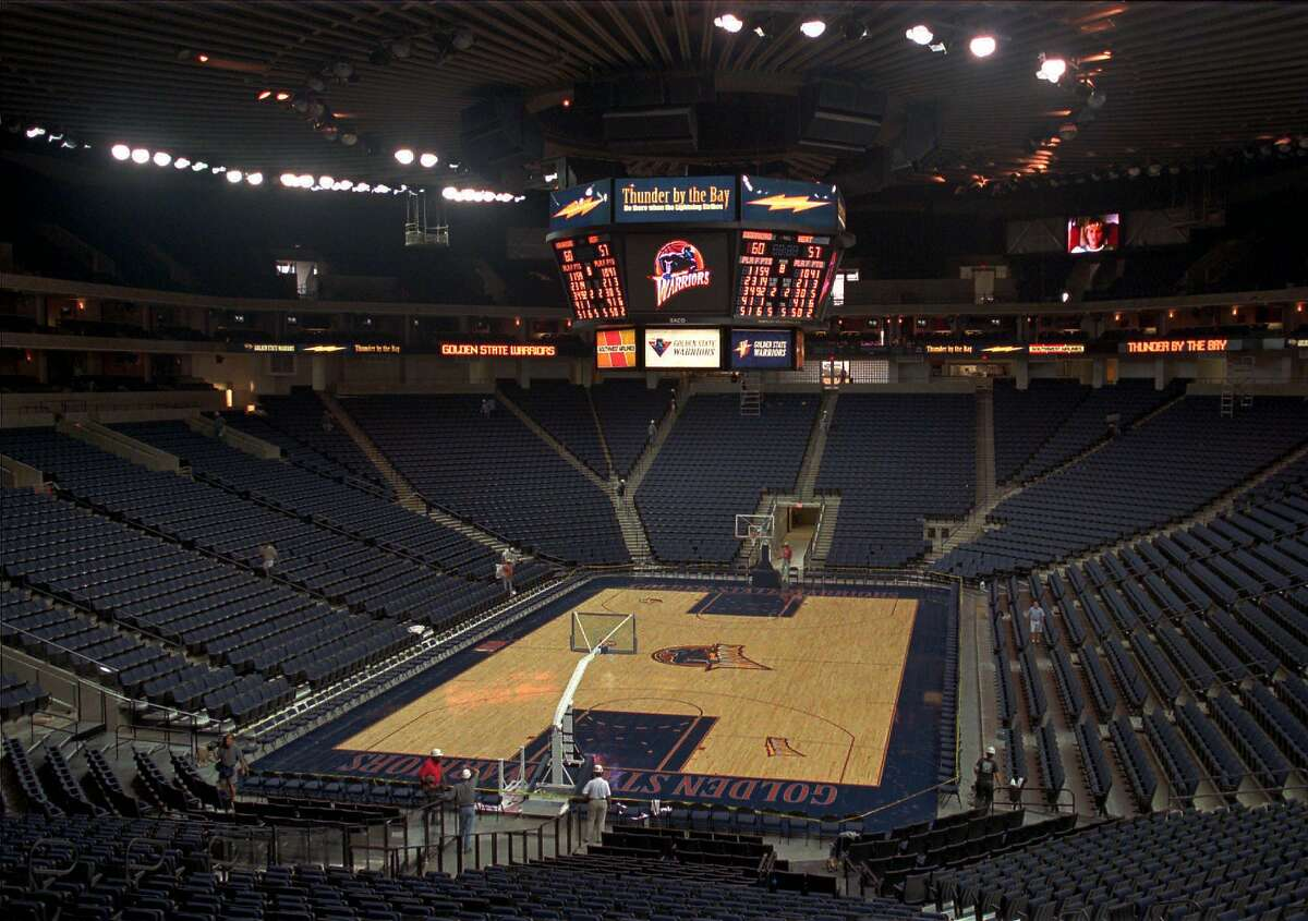 This is a view of the newly re-designed Oakland, Calif., Coliseum Arena on Wednesday, Oct. 29, 1997. After a year of construction work, the Golden State Warriors will have their home season opener against the Minnesota Timberwolves on Nov. 8.