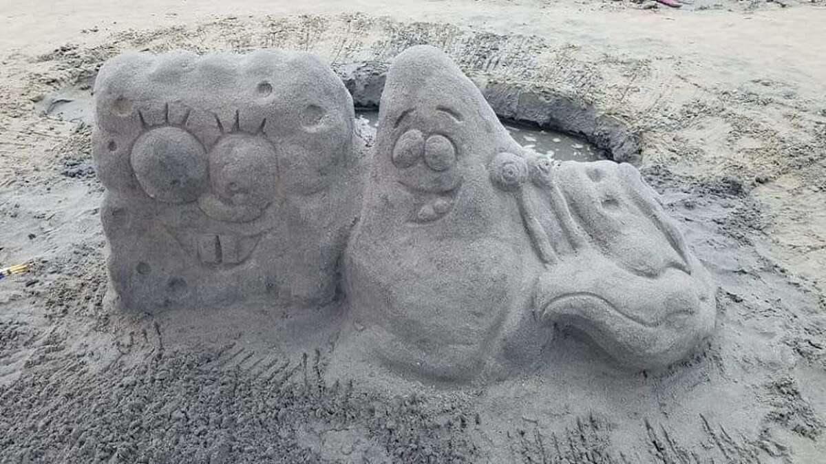 Spongebob and Patrick from cartoon land are represented during a previous Milford contest in the sand.