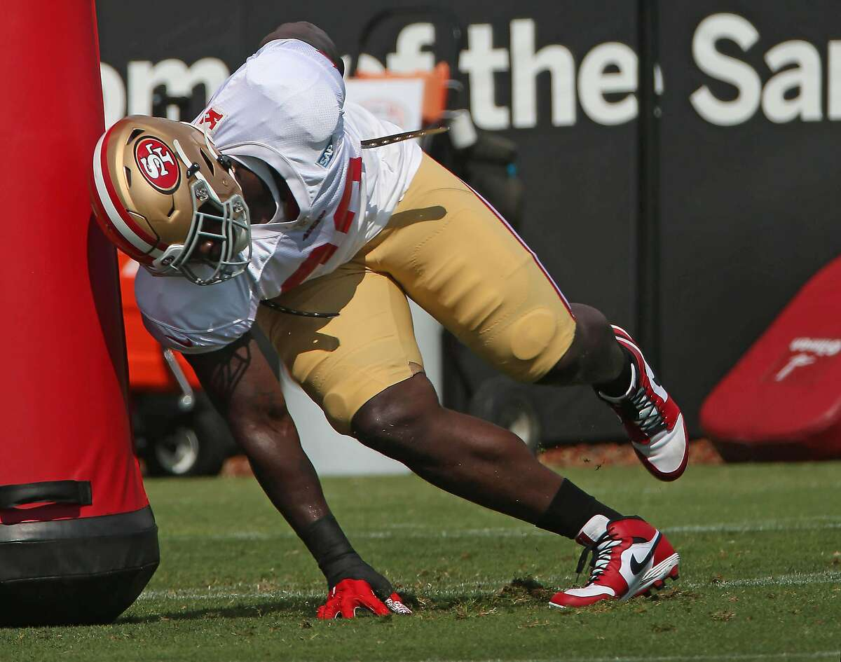 San Francisco 49ers Javon Kinlaw #99 practices on the field with teammates during San Francisco 49ers 2020 Training Camp practice at the SAP Performance Facility at Levi's Stadium on Monday, August 17, 2020 in Santa Clara, Calif.