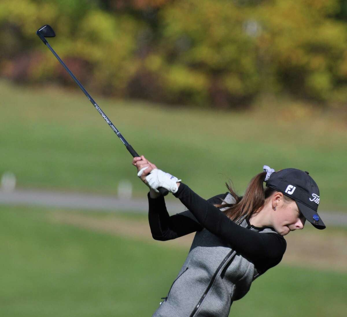 Kennedy Swedick, an 8th-grader at Albany Academy for Girls, takes a shot during the Section 2 Girls Golf Sectional and State Qualifier on Oct. 11, 2019, at Fairways of Halfmoon. She shot a 76 to win in the first-ever Section 2 golf sectionals for girls. (Joyce Bassett / Times Union)