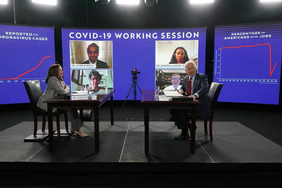 Sen. Kamala Harris (D-Calif.) and former Vice President Joe Biden, the Democratic Party's presumptive presidential nominee, during a briefing about the coronavirus from public health experts in Wilmington, Del., Thursday, Aug. 13, 2020. (Michelle V. Agins/The New York Times)
