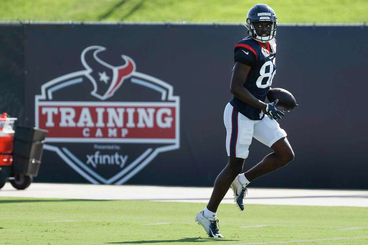 Houston Texans wide receiver Isaiah Coulter runs up the field after making a catch during an NFL training camp football practice Tuesday, Aug. 18, 2020, in Houston.