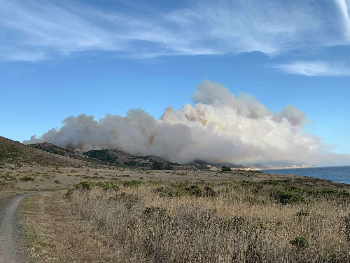 The Woodward Fire burns in the Point Reyes National Seashore on Aug. 18, 2020.
