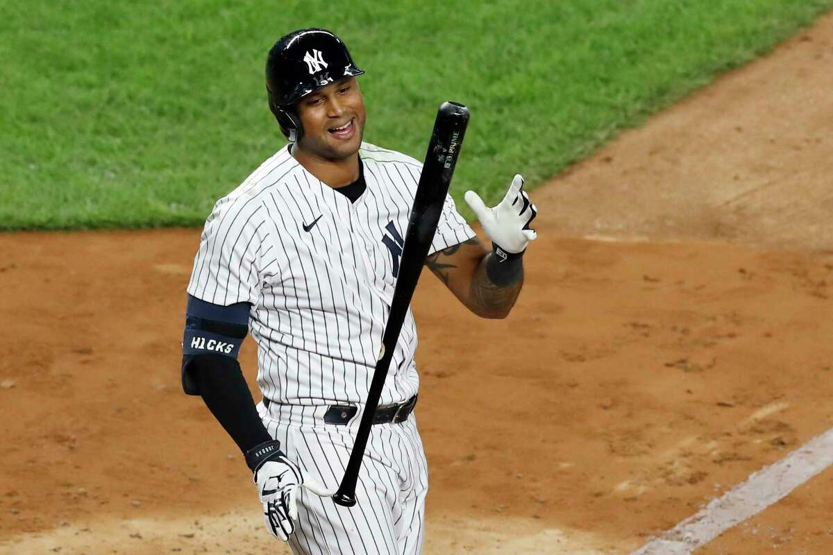 New York Yankees' Aaron Hicks (31) reacts during an at-bat in the eighth inning of a baseball game against the Tampa Bay Rays, Tuesday, Aug. 18, 2020, in New York. (AP Photo/Kathy Willens)