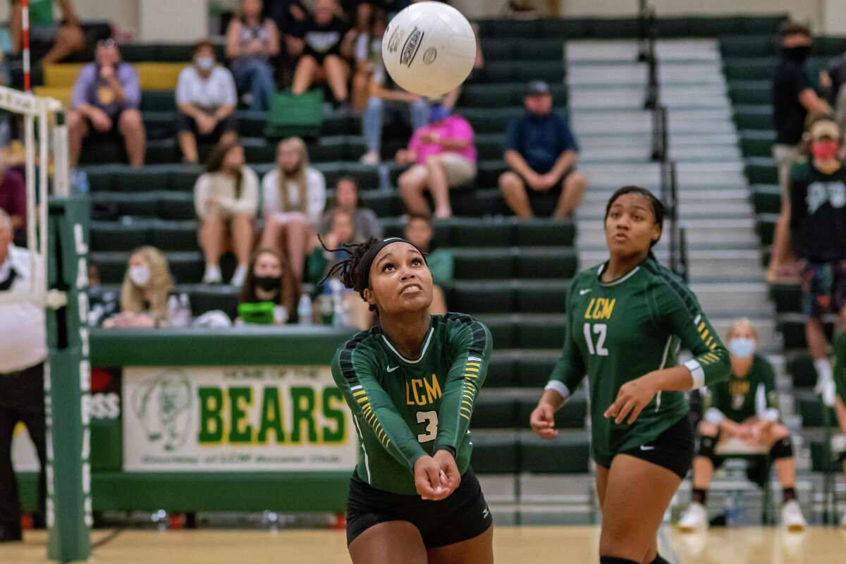 Trinity Williams (3) of the Lady Bears saves the ball from going out of play in the late going as the Lady Bears of Little Cypress-Mauriceville took down the Lady Horns of Hamshire-Fannett on Tuesday night. Photo made on August 18, 2020. Fran Ruchalski/The Enterprise