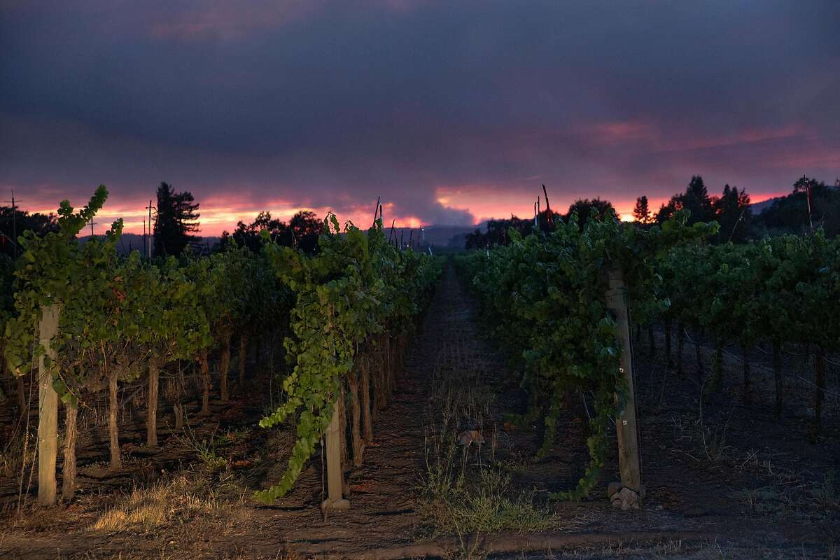 Two wildfires seen in the distance from Fulton in West Sonoma County, Calif., on Tuesday, August 18, 2020.