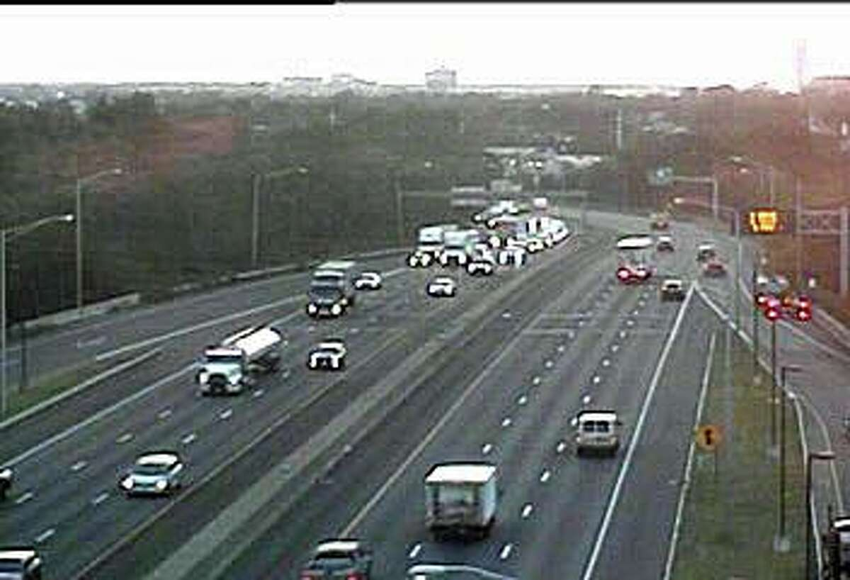 A disabled tractor-trailer truck that has closed the southbound center lane is causing some traffic slowdowns on I-95 in Fairfield Wednesday morning on Aug. 19, 2020.