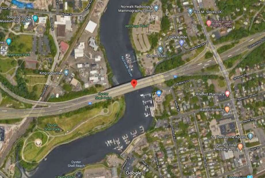 Rehabilitation work on the Yankee Doodle Bridge on I-95 over the Norwalk River will require a traffic shift and overnight ramp closures through the end of August. Photo: Google Earth Image