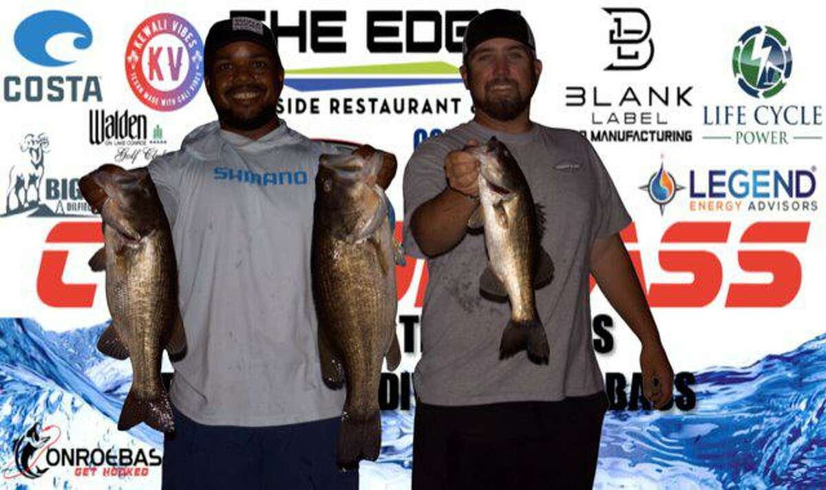 Clayton Godfrey and Jordan Lane came in second place in the CONROEBASS Tuesday Night tournament with a stringer weight of 12.51 pounds.