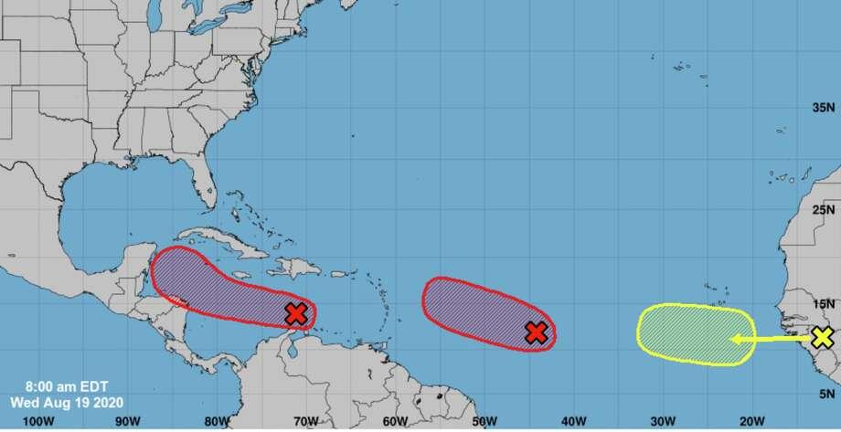 Three disturbances are tracked in the 2020 Atlantic hurricane season as of Wednesday, Aug. 19, 2020. Photo: National Hurricane Center